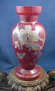 Antique Bohemian Harrach Cased Blood Red Hand Painted Enamel Art Glass Vase   eBay