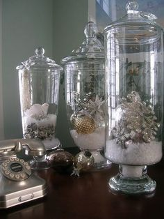 With apothecary jars being all the rage lately (who doesn't own several?) we think this is a great idea for an easy-to-do Christmas decoration. Don't own any apothecary jars? Dig out some glass vases or get rustic with old jam jars instead! Noel Christmas, Christmas Projects, All Things Christmas, Winter Christmas, Holiday Crafts, Elegant Christmas, Cheap Christmas, Christmas Candy, Christmas Mantles