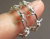 Barbed Wire, Hoop Earrings, Rocker, Sterling Silver, Unisex - Its The Quiet Ones You Need To Watch