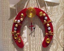 LUCKY HORSESHOE GIFT, with White Ribbon, cowgirl's gift, Red decorated horseshoe, Mothers day horseshoe gift.