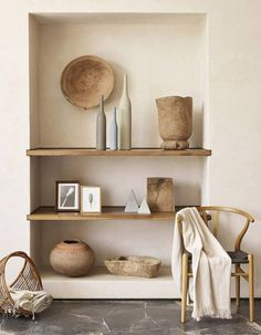 drywall built-ins with wooden shelves #organic_salon_decor