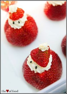 Strawberry Santas: Just strawberries, a bit of whipped cream, and black sesame seeds for eyes