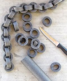 How to make Faux chains out of pipe insulation. Perfect for Halloween!