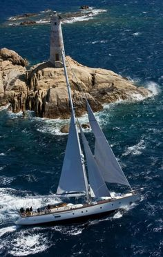 Sailing around the lighthouse - the Perini Navi Cup 2009 in Porto Cervo Yacht Boat, Sail Away, Set Sail, Tall Ships, Water Crafts, Sailing Ships, Sailing Boat, Sailing Yachts, Beautiful Places