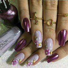 Cute Nails, Pretty Nails, The Art Of Nails, Lavender Nails, Magic Nails, Flower Nail Art, Nail Games, Nail Art Hacks, Purple Nails