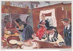 Carte 1960 Signée Homualk : Pontivy : Jour De Galettes ( Tricot,crêpe,folklore)