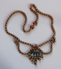 VINTAGE PINK RHINESTONE SAPHIRET NECKLACE JEWELRY SAPHIRETS STUNNING COLORS