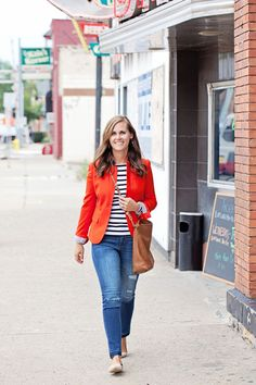 my everyday style: a red blazer! (with neutral pointed toe flats!)