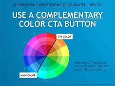 Clockwork Conversion Color Model Principle #1: Use a Complementary Color Call-to-Action (CTA) Button (Model by @aschottmuller) via @threedeep #design #clockworkconversion
