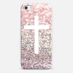 Girly Pink Snowfall Cross iPhone & iPod case by Lisa Argyropoulos | Casetagram