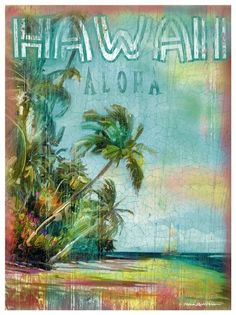 Hawaii ohhhh one more time! Maybe two :) I love Hawaii. Hawaiian Art, Vintage Hawaiian, Aloha Vintage, Kauai, Mahalo Hawaii, Hawaii Surf, Paradis Tropical, Illustrations Vintage, Paradise Found