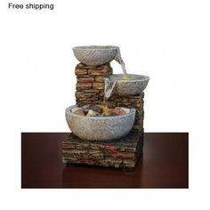 Brick Bowl LED Fountain Water Sound Home Office Desk Tabletop Decoration Gift