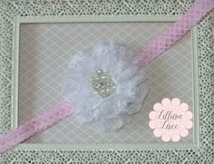 Pink Quatrefoil Baby Headband with Lovely Lace Flower. Choose your size on Etsy, $12.95