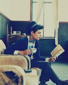cute boy + coffee + book