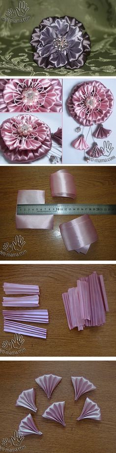 6-petal satin ribbon flower.