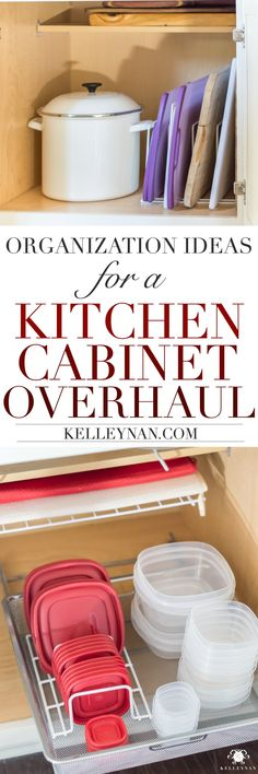 How to Organize and declutter your kitchen cabinets with pyrex and organization solutions. Kitchen Cupboard Organization, Diy Kitchen Shelves, Home Organization Hacks, Kitchen Storage, Food Storage, Kitchen Ideas, Kitchen Cabinets Reviews, Cheap Kitchen Cabinets, Farmhouse Kitchen Cabinets