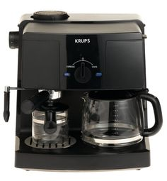 KRUPS XP1500 Coffee Maker and Espresso Machine Combination, Black - http://www.freeshippingcoffee.com/equipment/espresso-machines/krups-xp1500-coffee-maker-and-espresso-machine-combination-black/ - #EspressoMachines