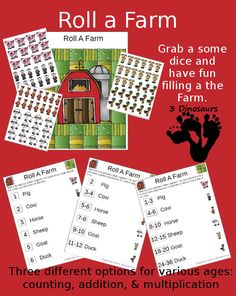 Free Roll a Farm Printable - 3 options counting, addition and multiplication - 3Dinosaurs.com