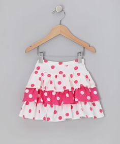 Pink Polka Dot Tiered Ruffle Skirt by Chatti Patti on #zulily