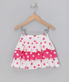 Pink Polka Dot Tiered Ruffle Skirt - Girls
