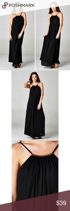 Front Trim Aria Maxi Dress Simple yet elegant maxi with a front gold bar trim. Adjustable spaghetti straps.  Color - Black Love Stitch Dresses Maxi