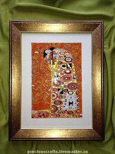 """Купить Картина на стекле """"Объятия"""" (витражная картина) - картина, стекло, репродукция, Климт, Густав Климт"""