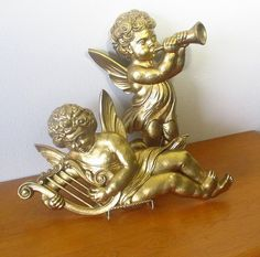 HUGE 1963 gold resin angel cherubs plastic by MyRetroAtomicLife