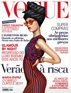 Caroline Brasch Nielsen looks gorgeous on the cover of Vogue Portugal May 2011 issue. Photographed by Sølve Sundsbø Caroline sports stripes, turban and red glares in the cover image. Christy Turlington, Vogue Portugal, Sleeveless Denim Dress, Vogue Magazine Covers, Danish Fashion, Magazine Images, House Of Holland, Glamour, Cover Model
