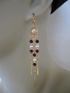 Swarovski Chandelier Chain Earrings  Garnet by pattimacs on Etsy, $16.00