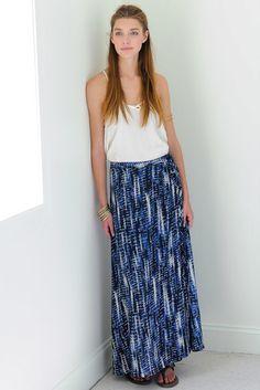 Veronica M Tie Dye Wrap Maxi Skirt in NAVY