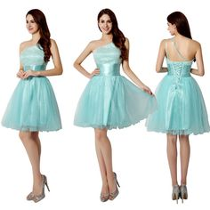 119.99$  Buy here - http://viavp.justgood.pw/vig/item.php?t=regwfgh7112 - Turquoise One-Shoulder Corset Short Formal Prom, Cocktail Dress, Ball Gown 119.99$