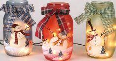 Navidad mason jars ligh holder