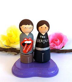 Rocker Wedding Cake Toppers Rock Star Bride Groom Music Deftones Beatles Punk Rock N Roll Rap T Shirts Wood Peg Dolls Personalized Keepsake. $70.00, via Etsy.