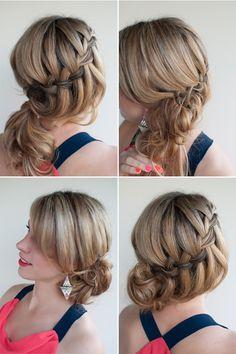 Waterfall braided bun.   Oh the lovely things: diy