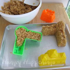 Caramel Rice Krispies Treat Sand Castle made using sand molds.