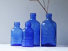lot of 4 vintage cobalt blue medicine bottles by ModishVintage