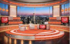 Virtual Studio Sets - News Set. News Backgrounds. Tv Set Design, Stage Design, Virtuelles Studio, Studio Design, Studio Setup, News Studio, Nyc Holidays, Virtual Studio, Green Screen Backgrounds