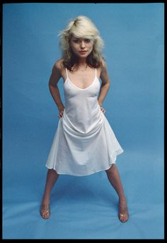 """Debbie Harry - Glory Years: """"Deb, in what is most likely a Halston dress, shot in a hotel room, where we set up a blue paper backdrop."""""""