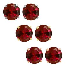 1.00 Ct Ruby 14K Gold Over Sterling Silver 4 Prong Stud Earrings With Rubber…