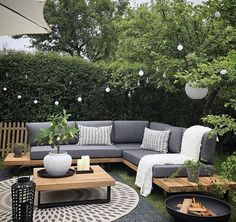 Garden Sofa Set Grey and Light Wood MYKONOS - Garden and outdoors - Design Rattan Furniture Backyard Seating, Backyard Patio Designs, Backyard Ideas, Patio Ideas, Small Backyard Patio, Backyard Pools, Corner Garden Seating, Corner Sofa Garden, Diy Garden Seating