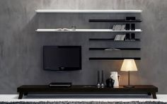 Modern living room tv wall units black and white