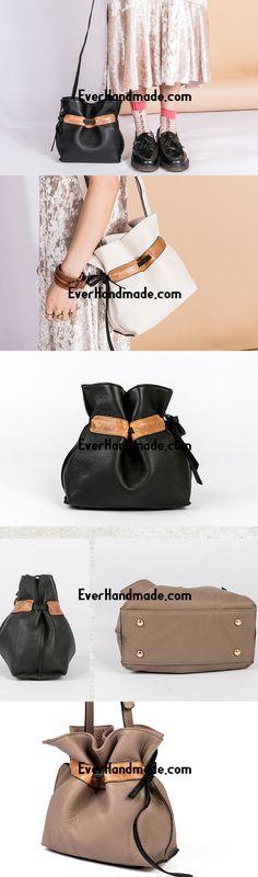 Handmade Genuine Leather Shopper Bag Bucket Bag Shoulder Bag Purse For Women