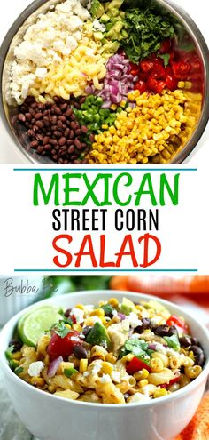 Mexican Street Corn Salad Light, fresh and bursting with authentic flavor, this Mexican Street Corn Salad Recipe is a healthy alternative to Taco Tuesday or a great idea for your Cinco De Mayo Party! Mexican Street Corn Salad, Mexican Salads, Mexican Appetizers, Mexican Food Recipes, Appetizer Recipes, Mexican Menu, Mexican Style, Corn Salad Recipes, Corn Salads