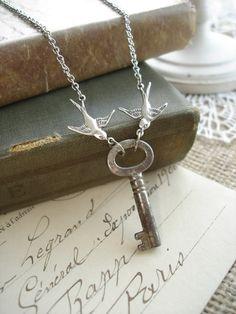 LOVE NEST  Antique Key Necklace Vintage by RomantiquarianDesign, $32.50