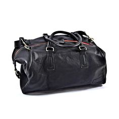 Pampa Large Duffle Bag Black/ Red Zipper | Roque Bags