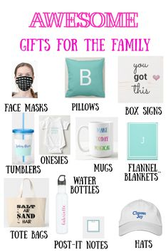 Lots of great ideas for the whole family. It's easy to change personalized products, and you can also change fonts, font colors, etc! #family #giftsforthefamily #familygifts #giftsforkids #giftsforher #giftsforhim #personalizedgifts #pillows #blankets #signs #onesies #mugs #postitnotes