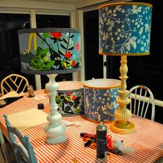 Youth Room Idea: DIY thrift store lamps with a little spray paint, funky fabric decoupage over shades.