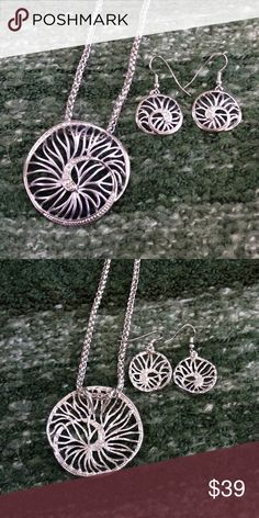 """🆑LAST1 🆕 OJDC HWN Statement Set Beautiful handcrafted Hawaiian set, with two tone with middle area matte and outer area with brushed finish. Hypoallergenic, nickel and lead free alloy set. Beautiful set looks different every time. Made in Hawaii. 18"""" chain with 2"""" extender. earrings dangle 1"""". OJDC Jewelry"""