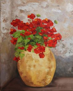 Red Geraniums in the Corner - 16 x 20 Oil on Canvas