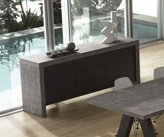 Shop AllModern for stylish sideboards and buffets. Store your extra table linens, dinnerware, and flatware in a modern kitchen buffet and expand your storage options! Sideboard Modern, Sideboard Buffet, Credenza, Side Board, Concrete Furniture, Furniture Design, Italian Furniture, Modern Table, Home
